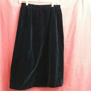 Vintage 1970's 80's Sapphire Blue Velvet Skirt